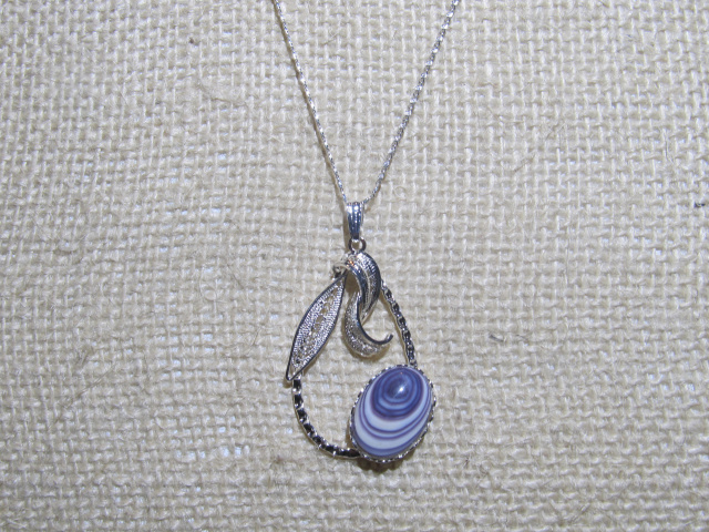 Wampum Cabochon in Flower Setting